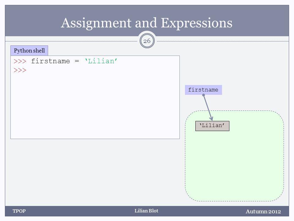 Lilian Blot Assignment and Expressions 26 Autumn 2012 TPOP >>> firstname = Lilian >>> Python shell firstname Lilian