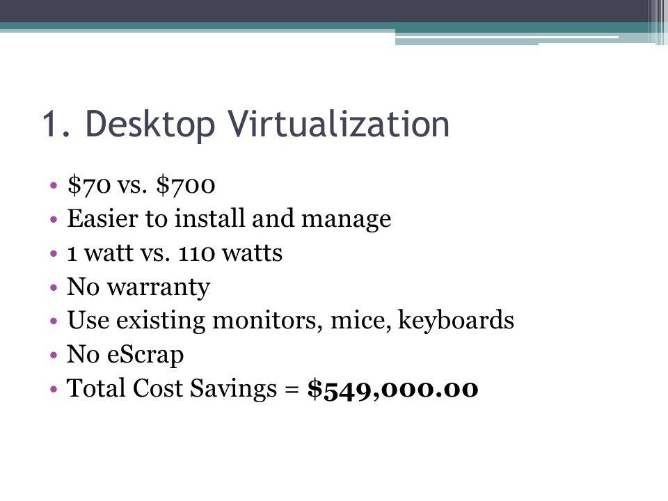 1. Desktop Virtualization $70 vs. $700 Easier to install and manage 1 watt vs. 110 watts No warranty Use existing monitors, mice, keyboards No eScrap