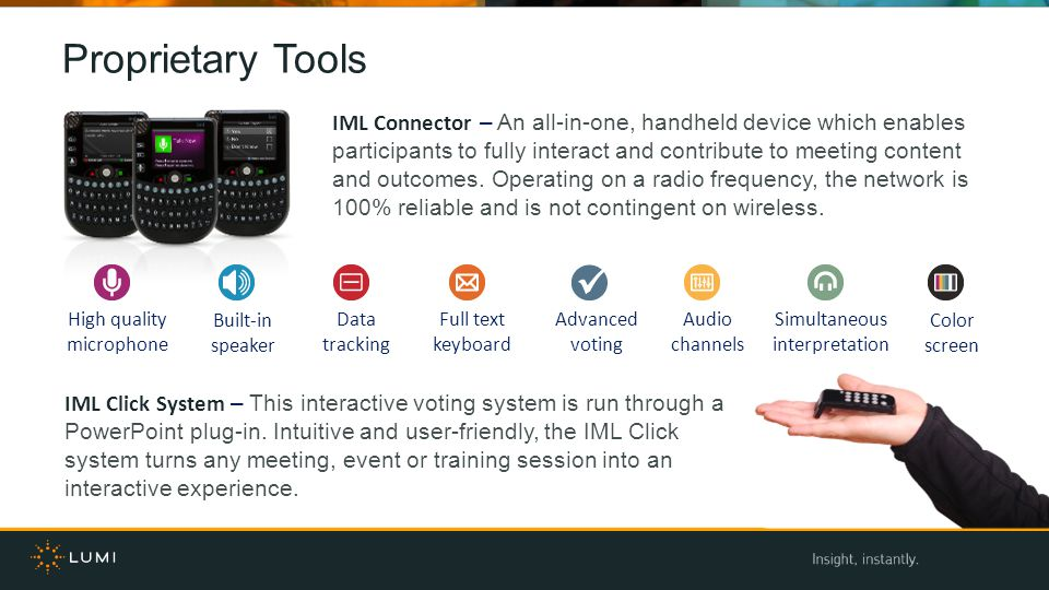 Proprietary Tools IML Connector – An all-in-one, handheld device which enables participants to fully interact and contribute to meeting content and outcomes.