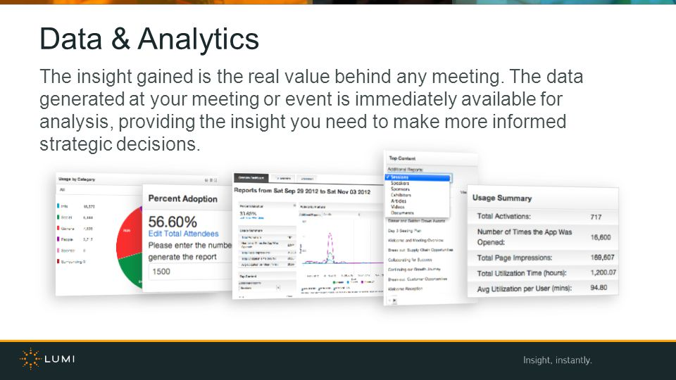 Data & Analytics The insight gained is the real value behind any meeting. The data generated at your meeting or event is immediately available for ana