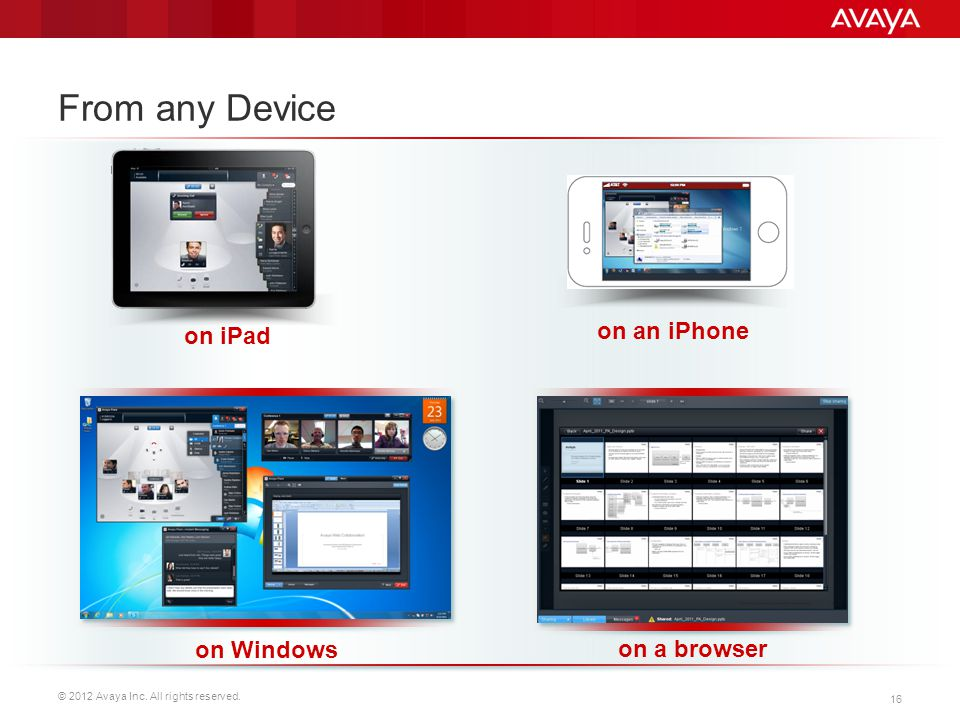 © 2012 Avaya Inc. All rights reserved. 16 From any Device on iPad on an iPhone on Windows on a browser