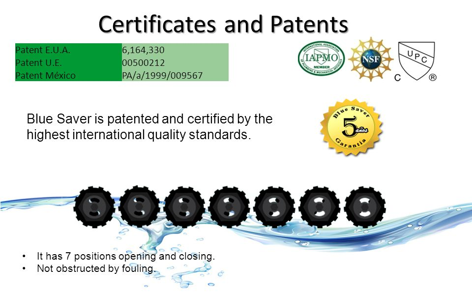 Certificates and Patents Patent E.U.A.6,164,330 Patent U.E.00500212 Patent MéxicoPA/a/1999/009567 Blue Saver is patented and certified by the highest international quality standards.