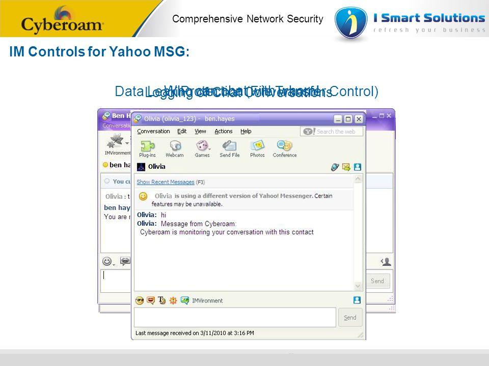 www.cyberoam.com © Copyright 2010 Elitecore Technologies Ltd. All Rights Reserved. Comprehensive Network Security IM Controls for Yahoo MSG: Data Leak