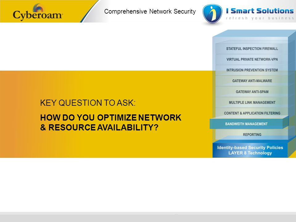 www.cyberoam.com © Copyright 2010 Elitecore Technologies Ltd. All Rights Reserved. Comprehensive Network Security KEY QUESTION TO ASK: HOW DO YOU OPTI