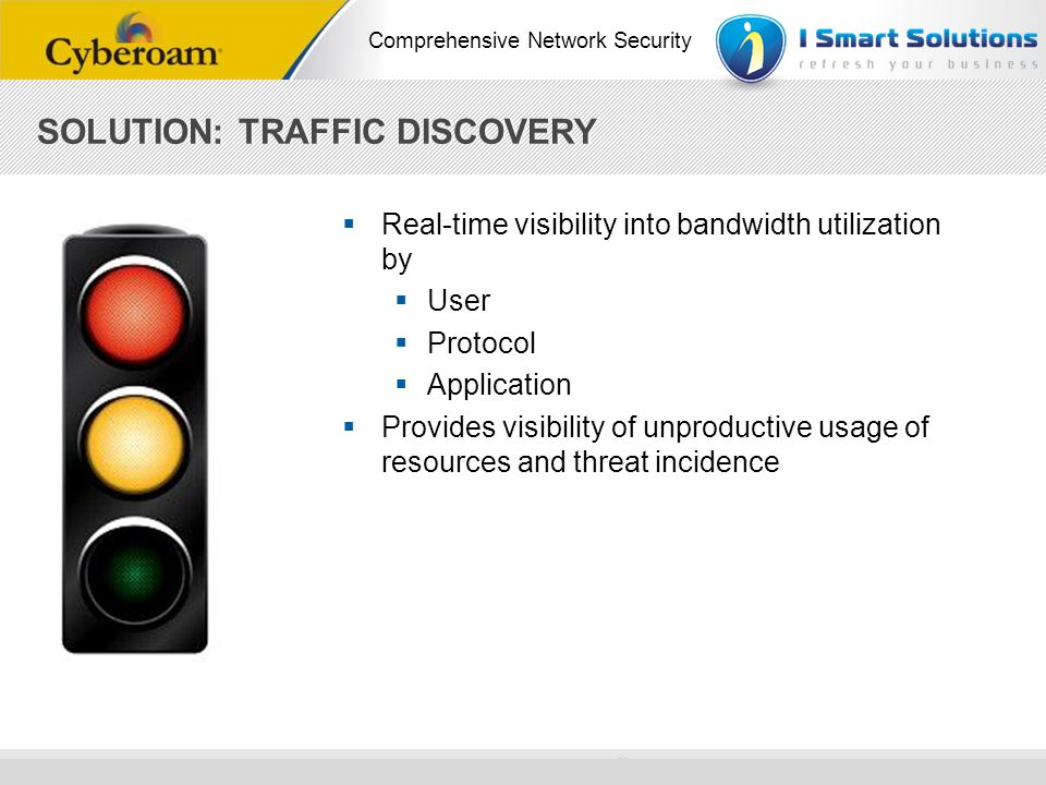 www.cyberoam.com © Copyright 2010 Elitecore Technologies Ltd. All Rights Reserved. Comprehensive Network Security SOLUTION: TRAFFIC DISCOVERY Real-tim