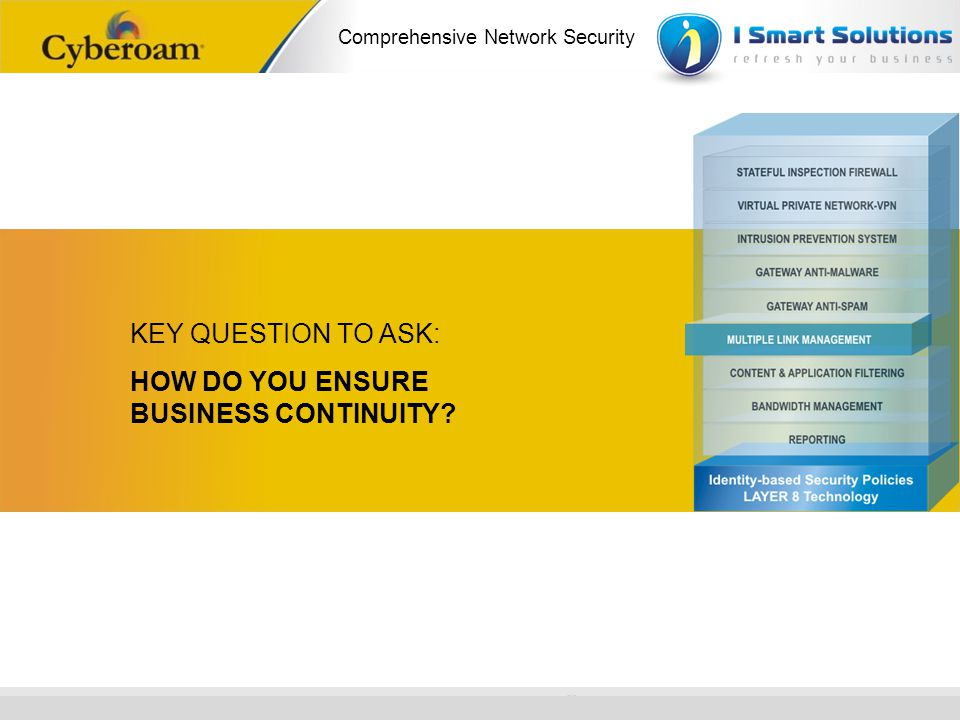 www.cyberoam.com © Copyright 2010 Elitecore Technologies Ltd. All Rights Reserved. Comprehensive Network Security KEY QUESTION TO ASK: HOW DO YOU ENSU