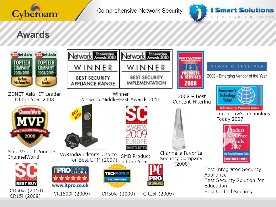 www.cyberoam.com © Copyright 2010 Elitecore Technologies Ltd. All Rights Reserved. Comprehensive Network Security SMB Product of the Year ZDNET Asia-