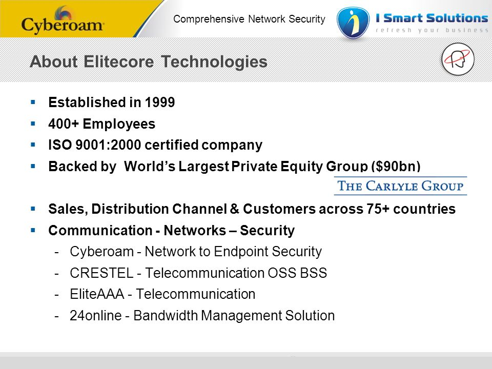 www.cyberoam.com © Copyright 2010 Elitecore Technologies Ltd. All Rights Reserved. Comprehensive Network Security Established in 1999 400+ Employees I