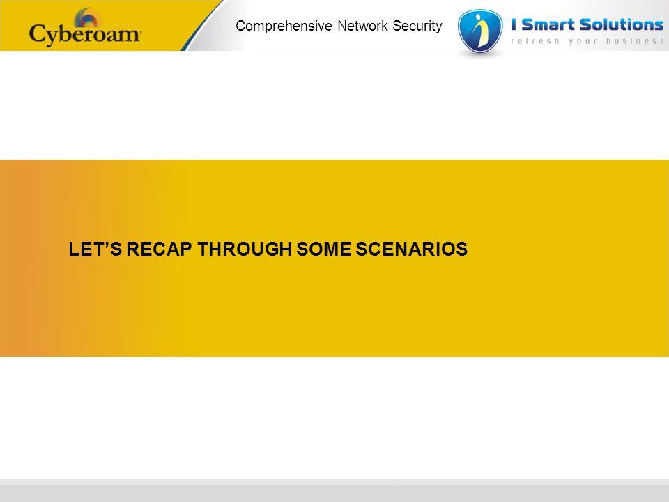 www.cyberoam.com © Copyright 2010 Elitecore Technologies Ltd. All Rights Reserved. Comprehensive Network Security LETS RECAP THROUGH SOME SCENARIOS