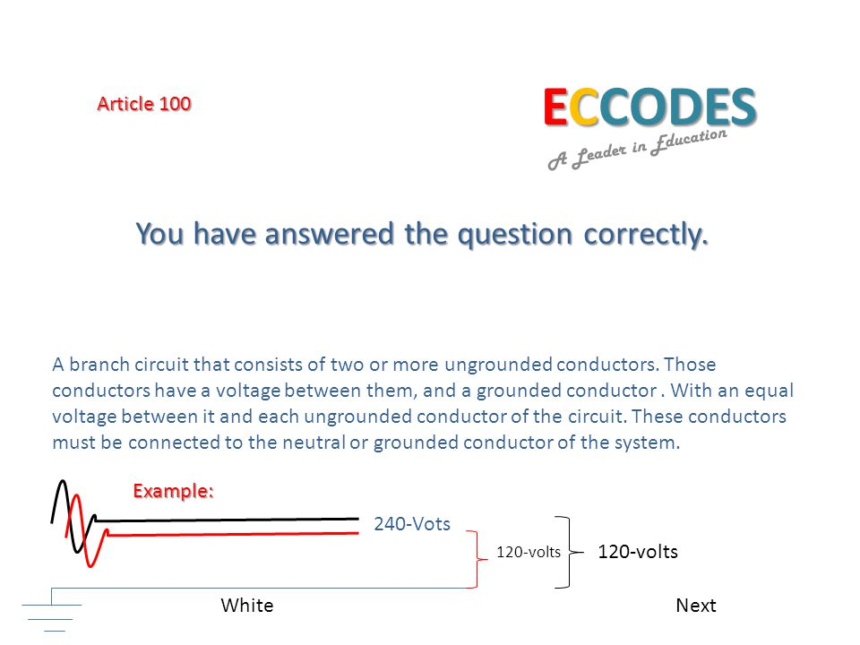 ECCODES A Leader in Education A branch circuit that consists of two or more ungrounded conductors.