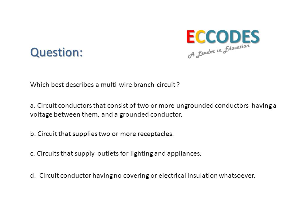 ECCODES A Leader in Education Question: a.