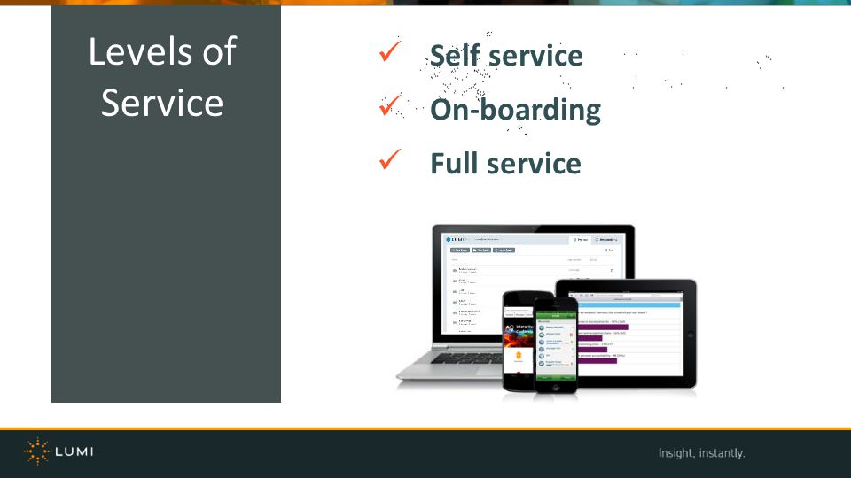 Self service On-boarding Full service Levels of Service
