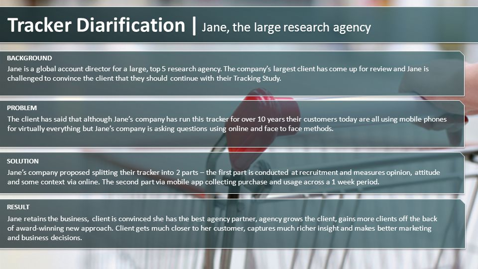Jane is a global account director for a large, top 5 research agency. The companys largest client has come up for review and Jane is challenged to con