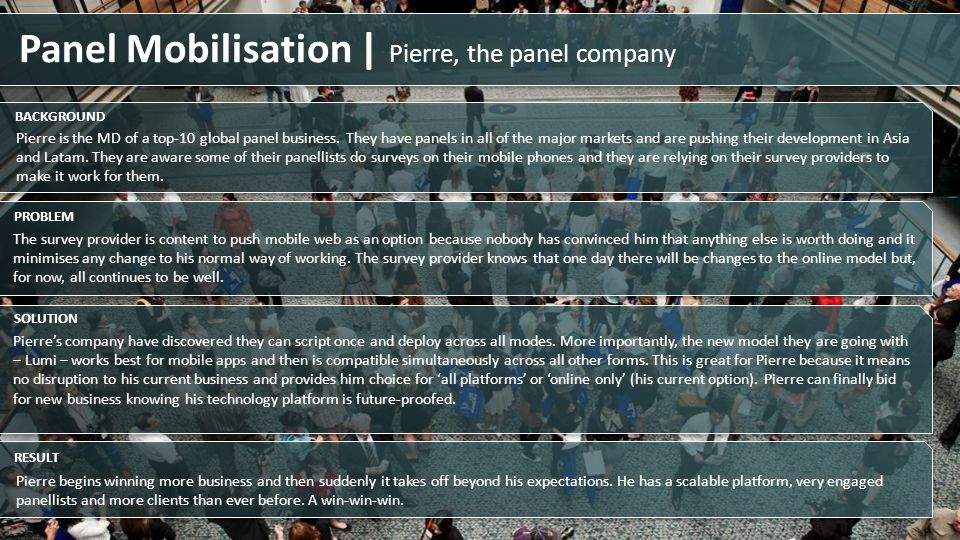 Pierre is the MD of a top-10 global panel business. They have panels in all of the major markets and are pushing their development in Asia and Latam.