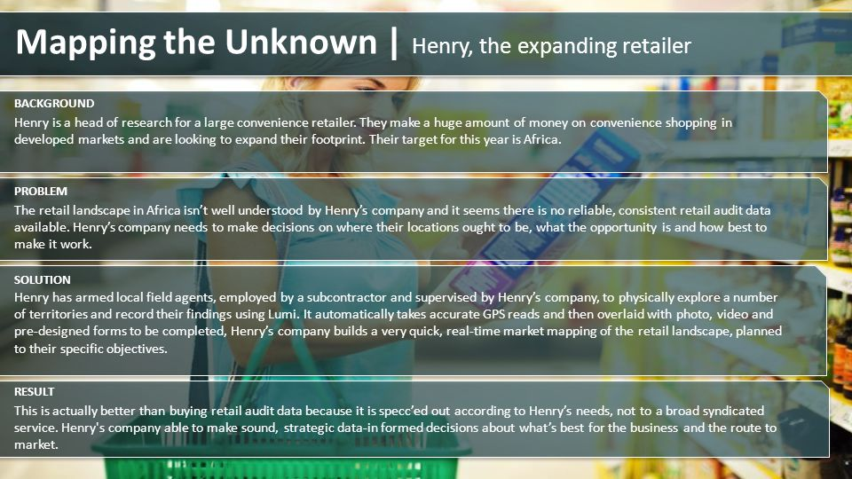 Henry is a head of research for a large convenience retailer. They make a huge amount of money on convenience shopping in developed markets and are lo