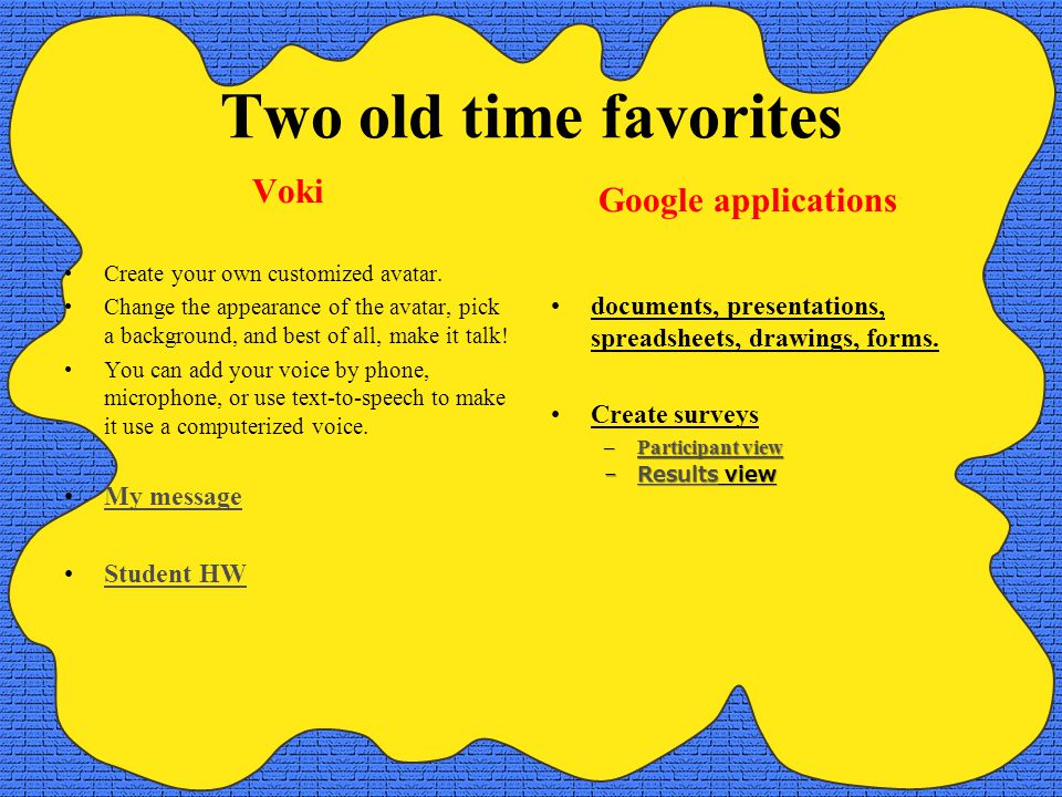 Two old time favorites Voki Create your own customized avatar.
