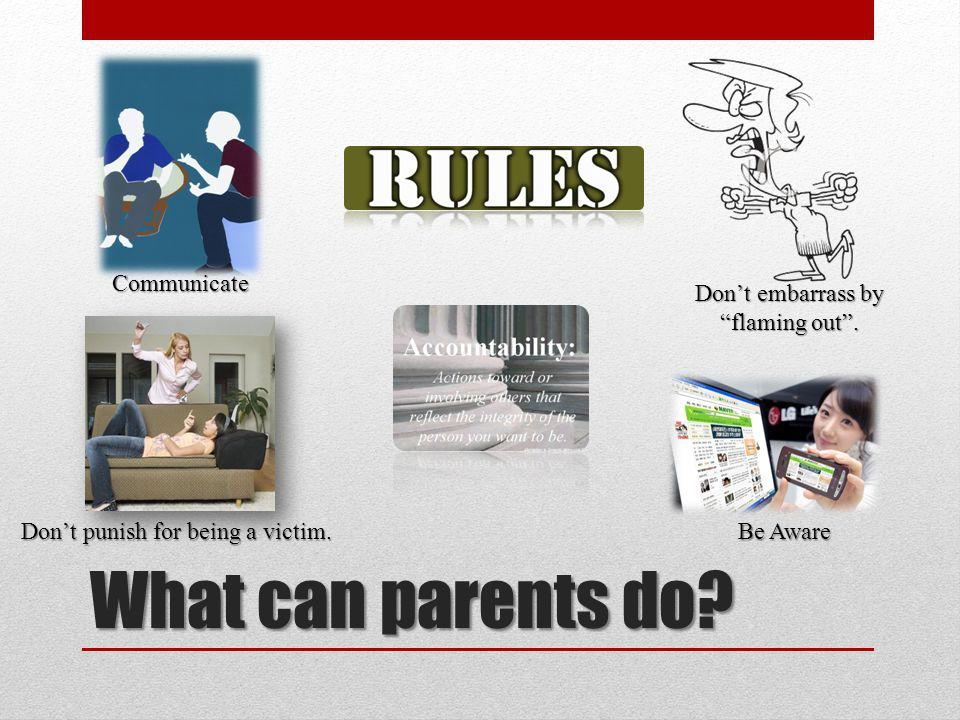 What can parents do? Communicate Be Aware Dont punish for being a victim. Dont embarrass by flaming out.