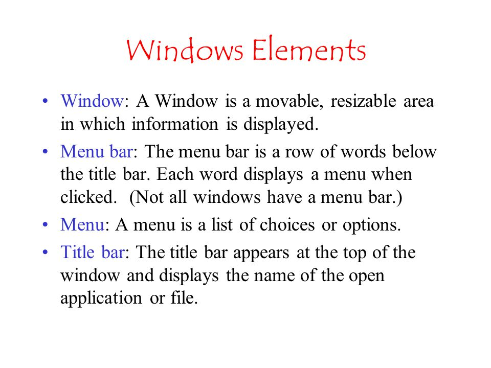 Parts of the My Computer Window Close Search Box View Button Address Bar (path) Command Bar Maximize (Restore) Title Bar Minimize Details Pane Navigation Pane Forward & Back