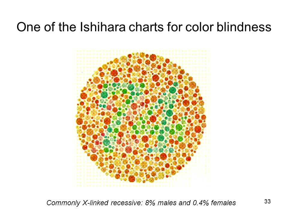 33 One of the Ishihara charts for color blindness Commonly X-linked recessive: 8% males and 0.4% females