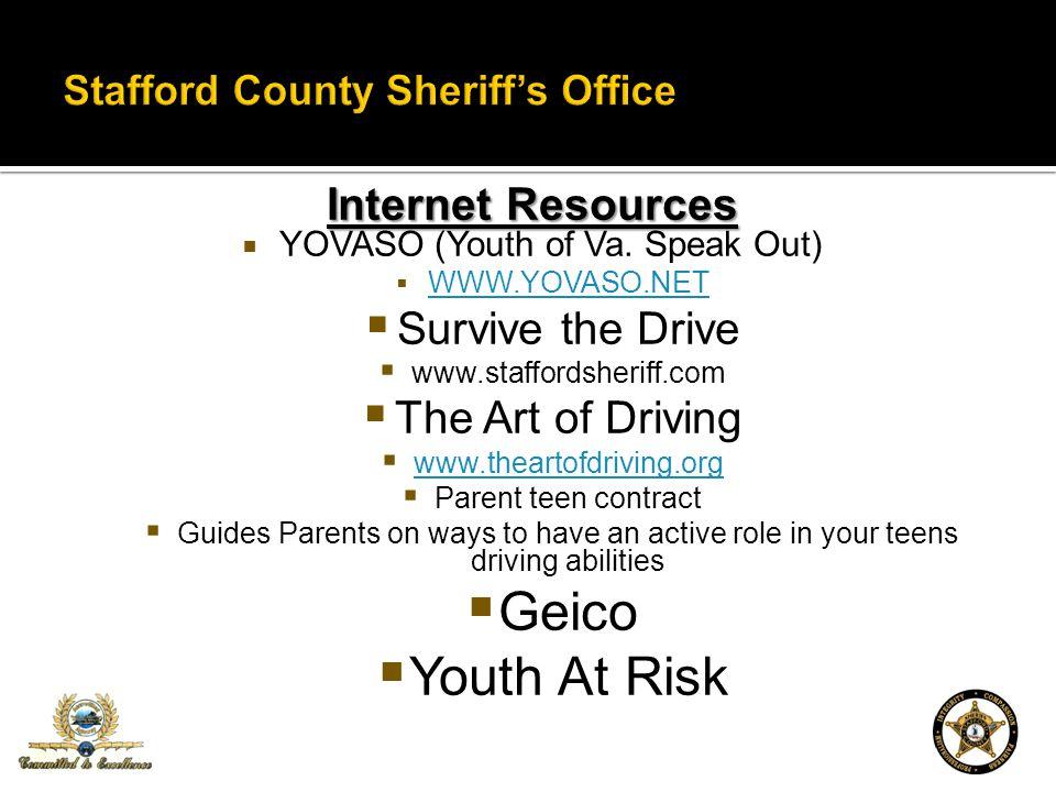 Internet Resources YOVASO (Youth of Va. Speak Out) WWW.YOVASO.NET Survive the Drive www.staffordsheriff.com The Art of Driving www.theartofdriving.org