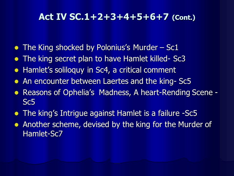 Act IV SC.1+2+3+4+5+6+7 (Cont.) The King shocked by Poloniuss Murder – Sc1 The King shocked by Poloniuss Murder – Sc1 The king secret plan to have Ham