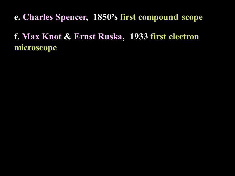 e. Charles Spencer, 1850s first compound scope f. Max Knot & Ernst Ruska, 1933 first electron microscope