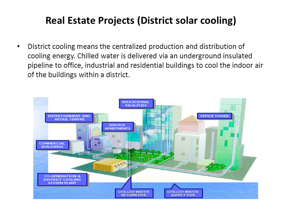 Real Estate Projects (District solar cooling) District cooling means the centralized production and distribution of cooling energy.