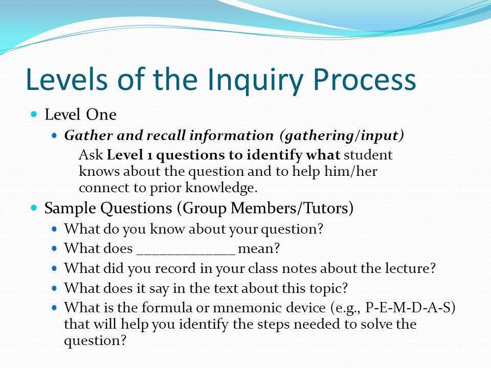 Levels of the Inquiry Process Level One Gather and recall information (gathering/input) Ask Level 1 questions to identify what student knows about the