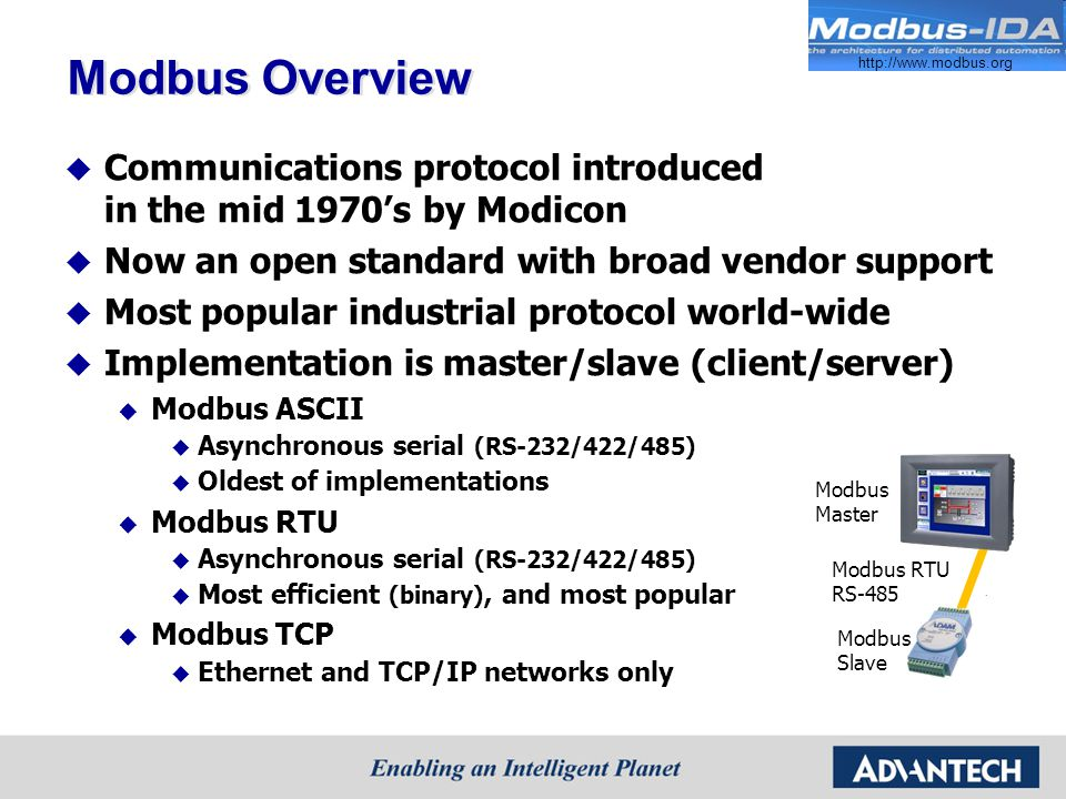 Modbus Overview Communications protocol introduced in the mid 1970s by Modicon Now an open standard with broad vendor support Most popular industrial protocol world-wide Implementation is master/slave (client/server) Modbus ASCII Asynchronous serial (RS-232/422/485) Oldest of implementations Modbus RTU Asynchronous serial (RS-232/422/485) Most efficient (binary), and most popular Modbus TCP Ethernet and TCP/IP networks only Modbus Master Modbus Slave Modbus RTU RS-485 http://www.modbus.org