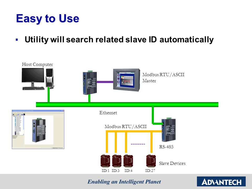 Easy to Use Utility will search related slave ID automatically Host Computer RS-485 Modbus RTU/ASCII Slave Devices ID:1ID:3ID:4ID:27 Ethernet Modbus RTU/ASCII Master
