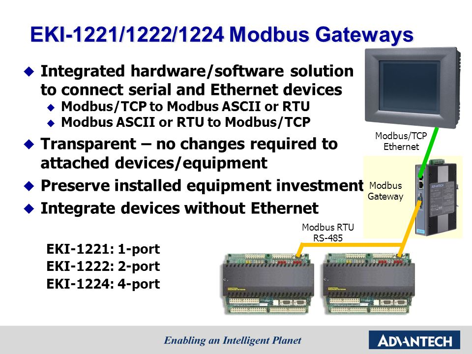 EKI-1221/1222/1224 Modbus Gateways Integrated hardware/software solution to connect serial and Ethernet devices Modbus/TCP to Modbus ASCII or RTU Modbus ASCII or RTU to Modbus/TCP Transparent – no changes required to attached devices/equipment Preserve installed equipment investments Integrate devices without Ethernet EKI-1221: 1-port EKI-1222: 2-port EKI-1224: 4-port Modbus/TCP Ethernet Modbus RTU RS-485 Modbus Gateway