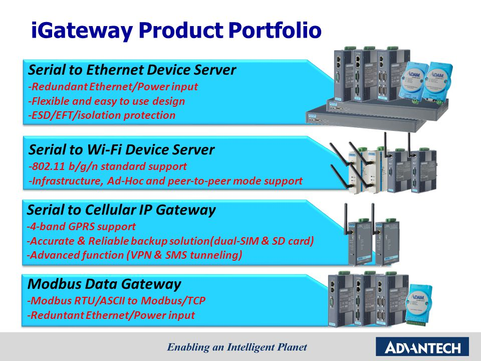 iGateway Product Portfolio Serial to Cellular IP Gateway -4-band GPRS support -Accurate & Reliable backup solution(dual-SIM & SD card) -Advanced function (VPN & SMS tunneling) Serial to Wi-Fi Device Server -802.11 b/g/n standard support -Infrastructure, Ad-Hoc and peer-to-peer mode support Serial to Ethernet Device Server -Redundant Ethernet/Power input -Flexible and easy to use design -ESD/EFT/isolation protection Modbus Data Gateway -Modbus RTU/ASCII to Modbus/TCP -Reduntant Ethernet/Power input