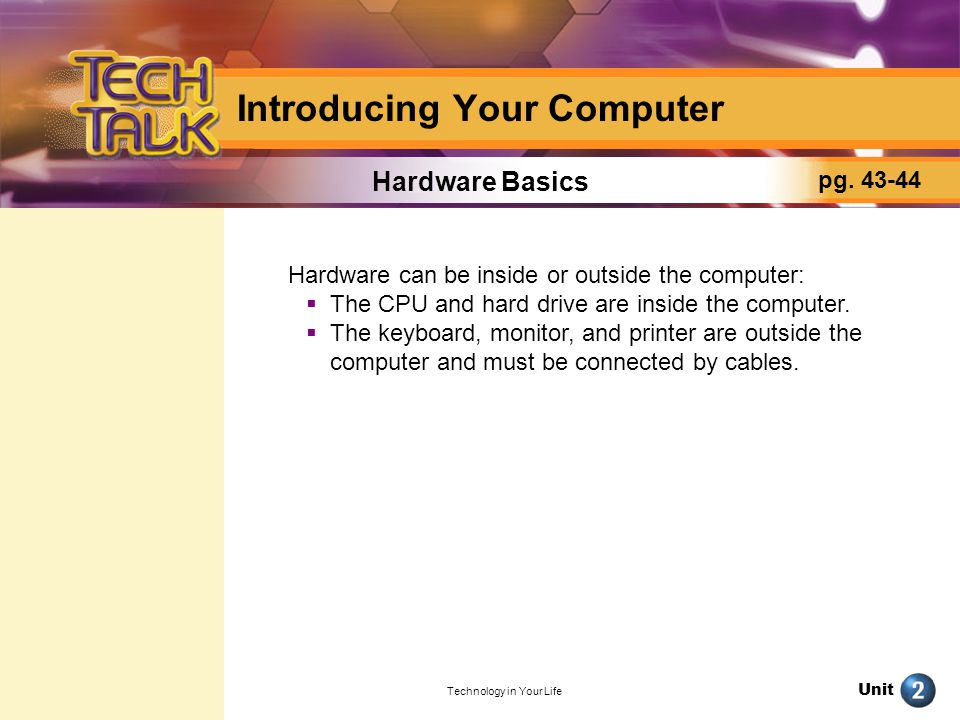 Unit Technology in Your Life Introducing Your Computer What Are Input and Output Devices.