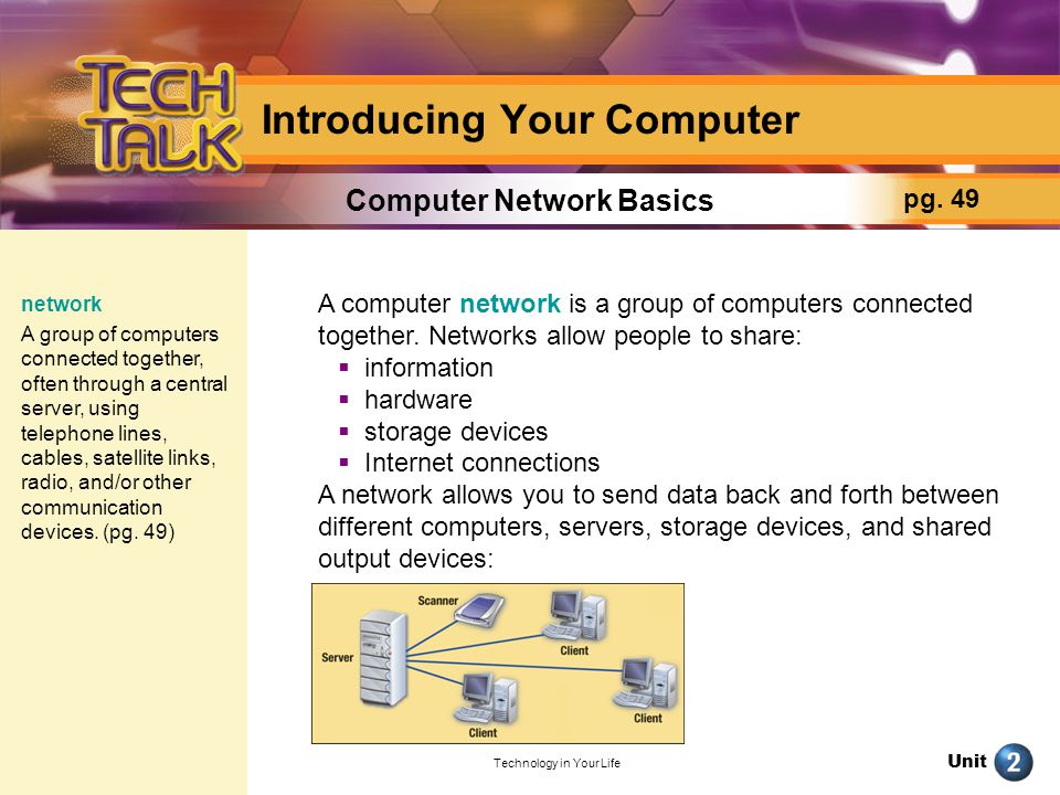 Unit Technology in Your Life Introducing Your Computer The Internet is the biggest network there is.