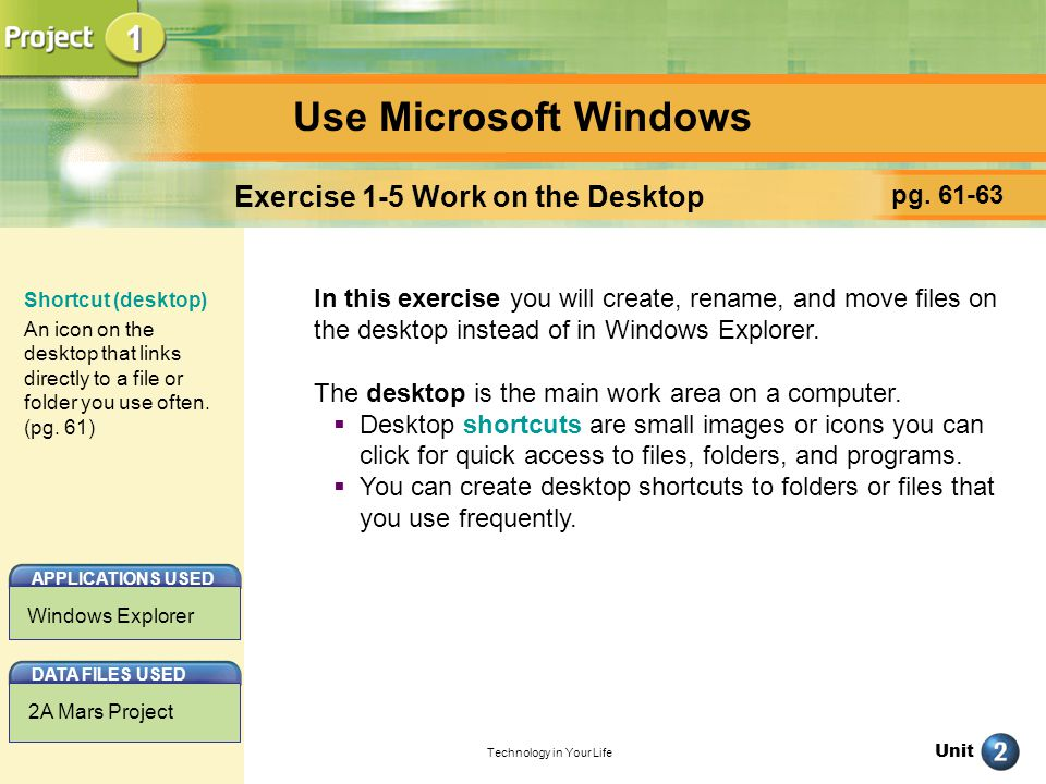Unit Technology in Your Life Use Microsoft Windows pg.