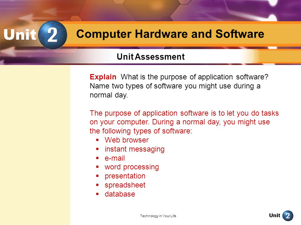 Unit Technology in Your Life Unit Unit Assessment Analyze Computers come with a wide variety of different hardware and software options.