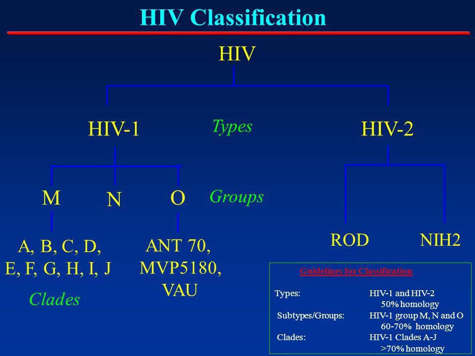 HIV Classification HIV HIV-1HIV-2 O M A, B, C, D, E, F, G, H, I, J Types Clades ANT 70, MVP5180, VAU ROD NIH2 Groups Guidelines for Classification Types: HIV-1 and HIV-2 50% homology Subtypes/Groups: HIV-1 group M, N and O 60-70% homology Clades: HIV-1 Clades A-J >70% homology N