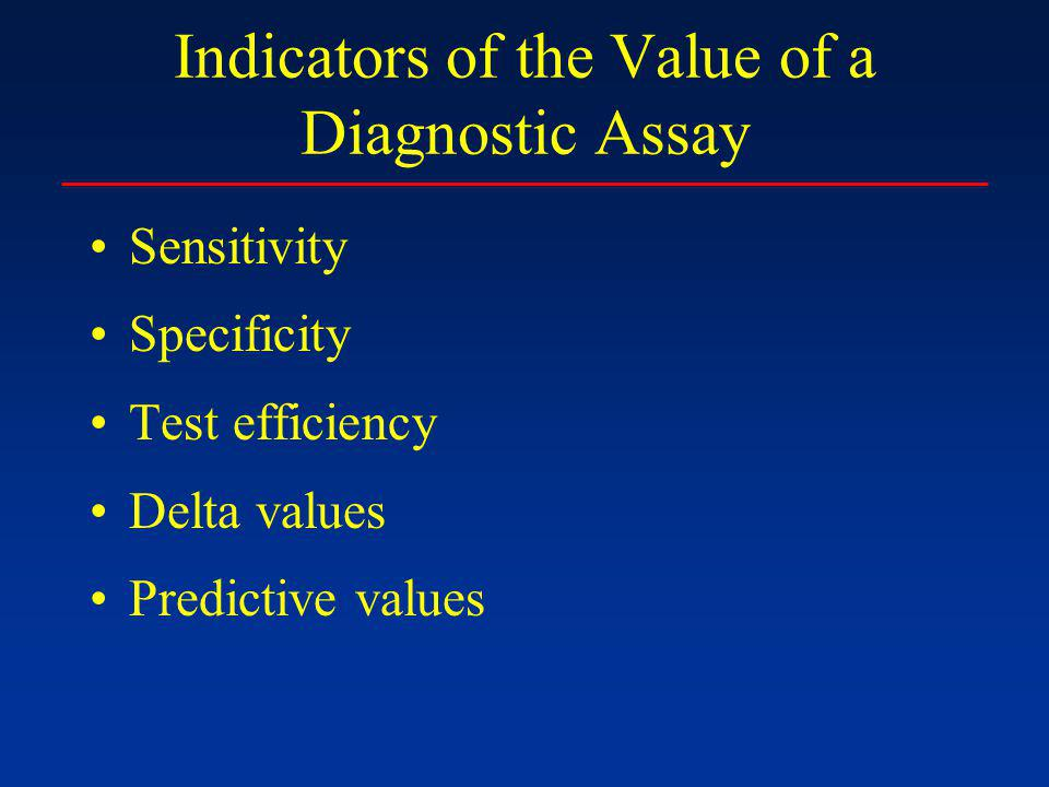 Indicators of the Value of a Diagnostic Assay Sensitivity Specificity Test efficiency Delta values Predictive values
