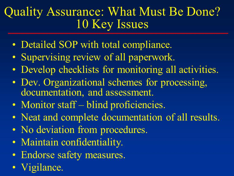 Quality Assurance: What Must Be Done. 10 Key Issues Detailed SOP with total compliance.