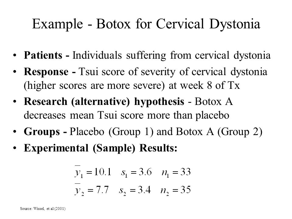 Example - Botox for Cervical Dystonia Patients - Individuals suffering from cervical dystonia Response - Tsui score of severity of cervical dystonia (