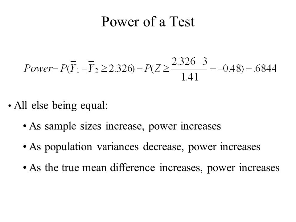 Power of a Test All else being equal: As sample sizes increase, power increases As population variances decrease, power increases As the true mean dif