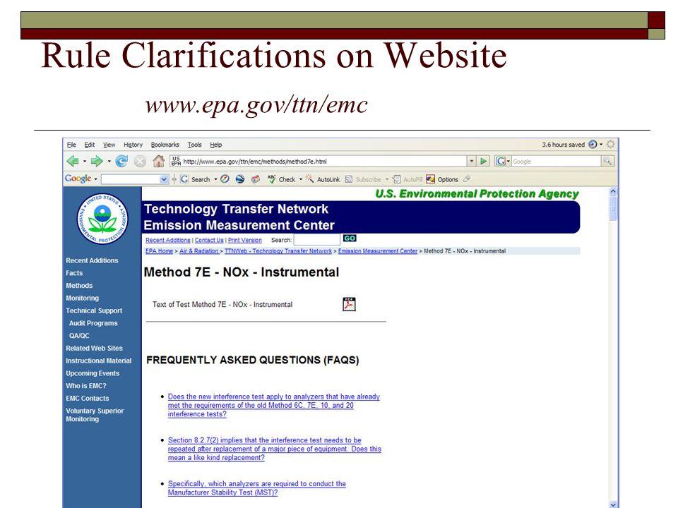 Rule Clarifications on Website www.epa.gov/ttn/emc