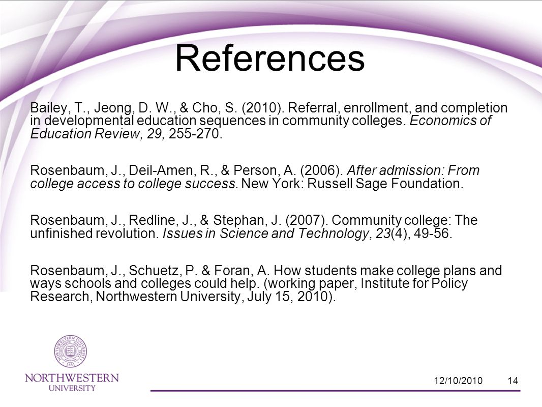 References Bailey, T., Jeong, D. W., & Cho, S. (2010).