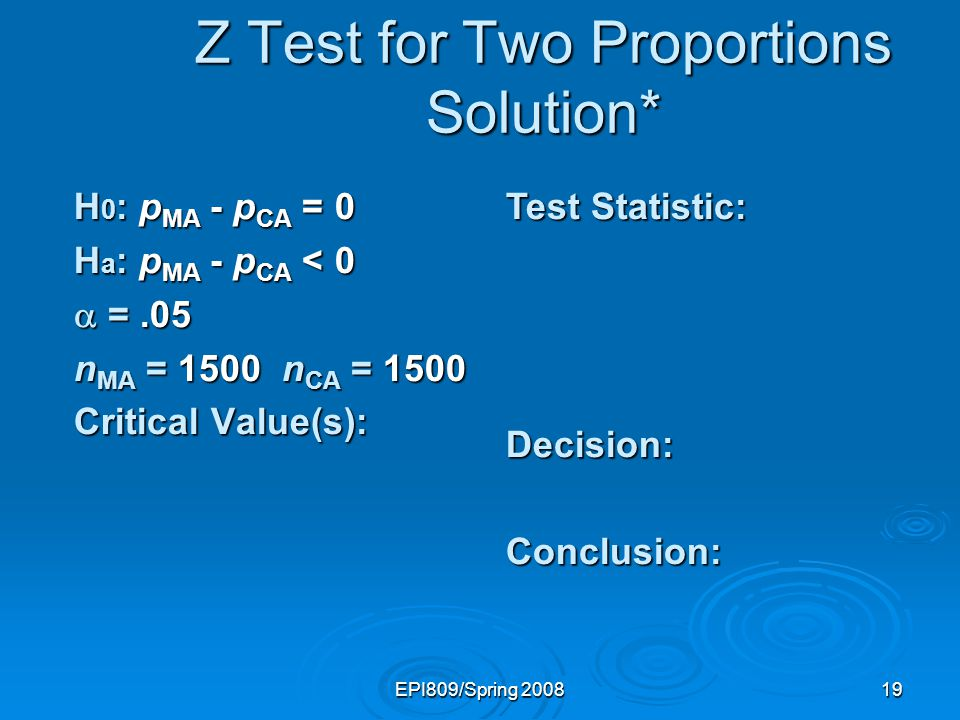 EPI809/Spring 200819 Test Statistic: Decision:Conclusion: Z Test for Two Proportions Solution* H 0 : p MA - p CA = 0 H a : p MA - p CA < 0 =.05 =.05 n