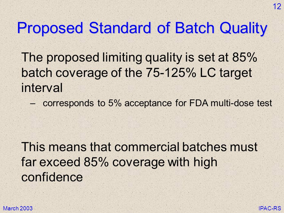 March 2003IPAC-RS 12 Proposed Standard of Batch Quality The proposed limiting quality is set at 85% batch coverage of the 75-125% LC target interval –corresponds to 5% acceptance for FDA multi-dose test This means that commercial batches must far exceed 85% coverage with high confidence