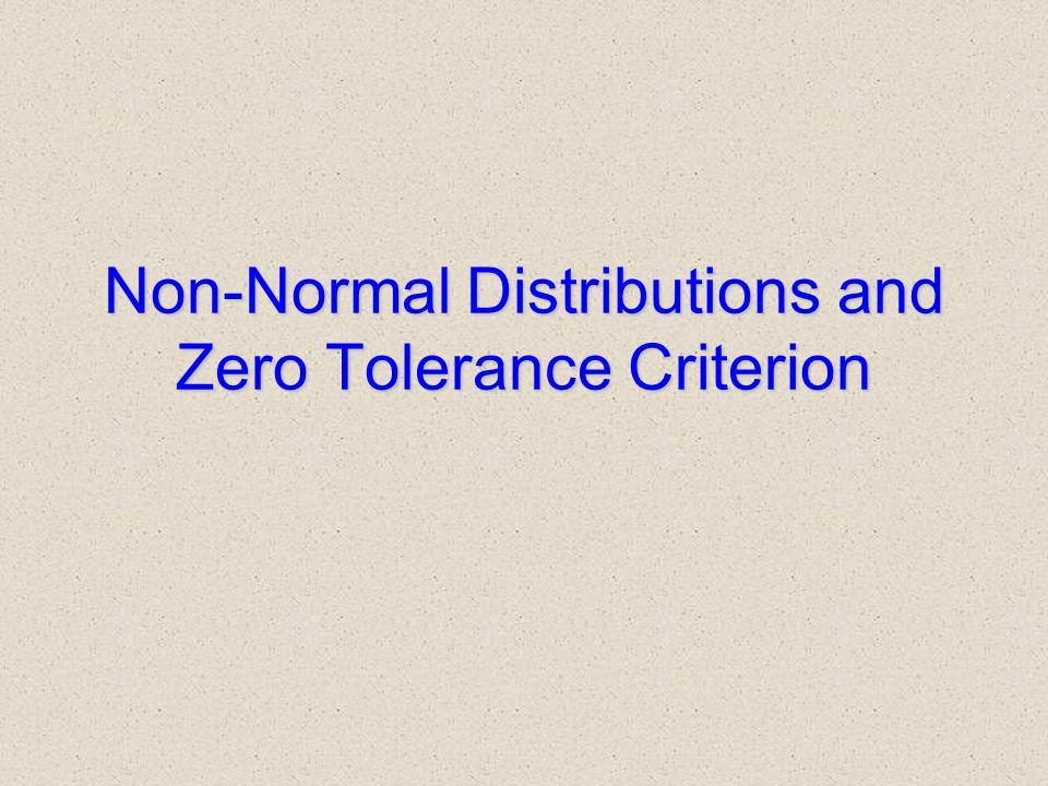 Non-Normal Distributions and Zero Tolerance Criterion