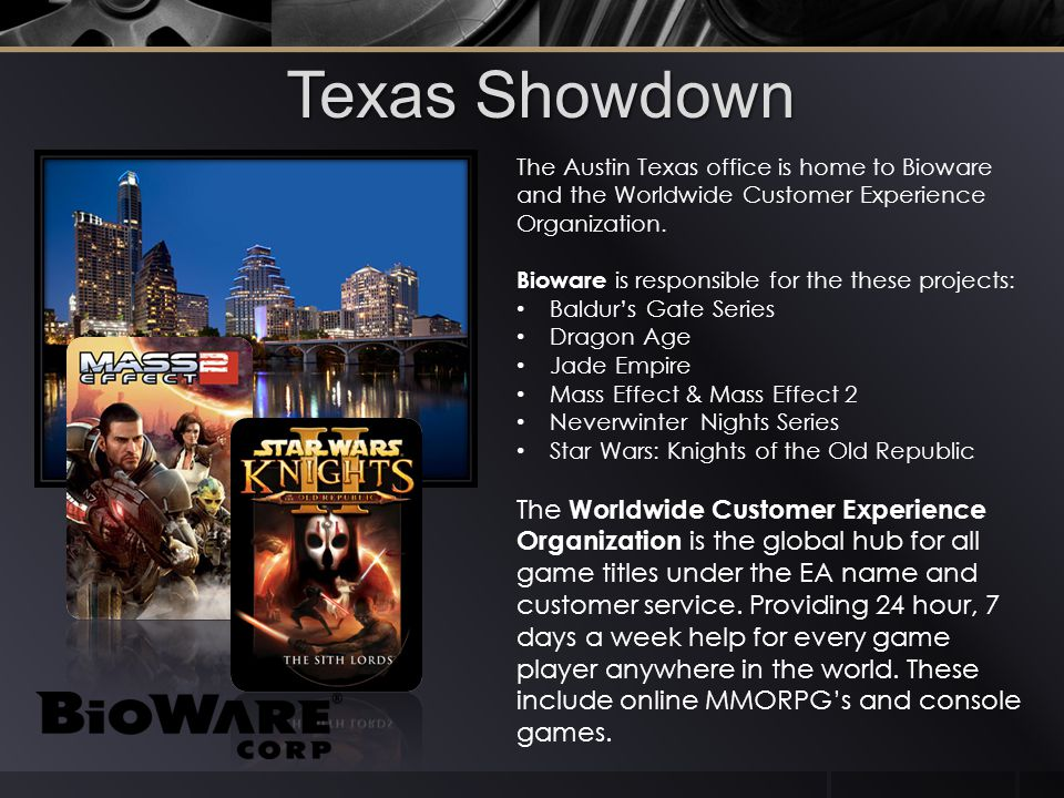 Texas Showdown The Austin Texas office is home to Bioware and the Worldwide Customer Experience Organization.