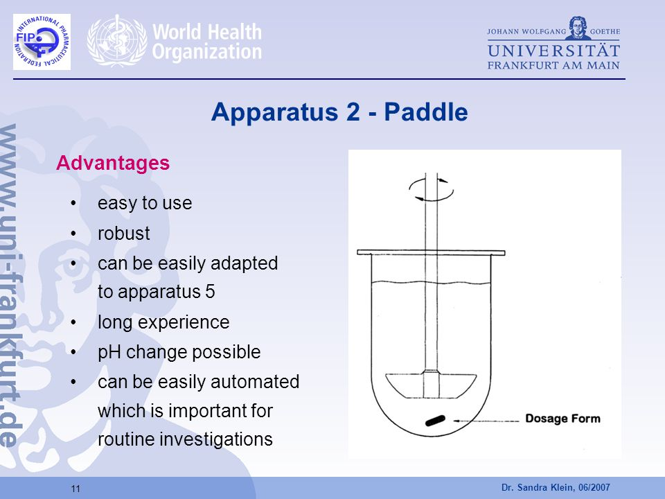 Dr. Sandra Klein, 06/2007 11 Apparatus 2 - Paddle Advantages easy to use robust can be easily adapted to apparatus 5 long experience pH change possibl