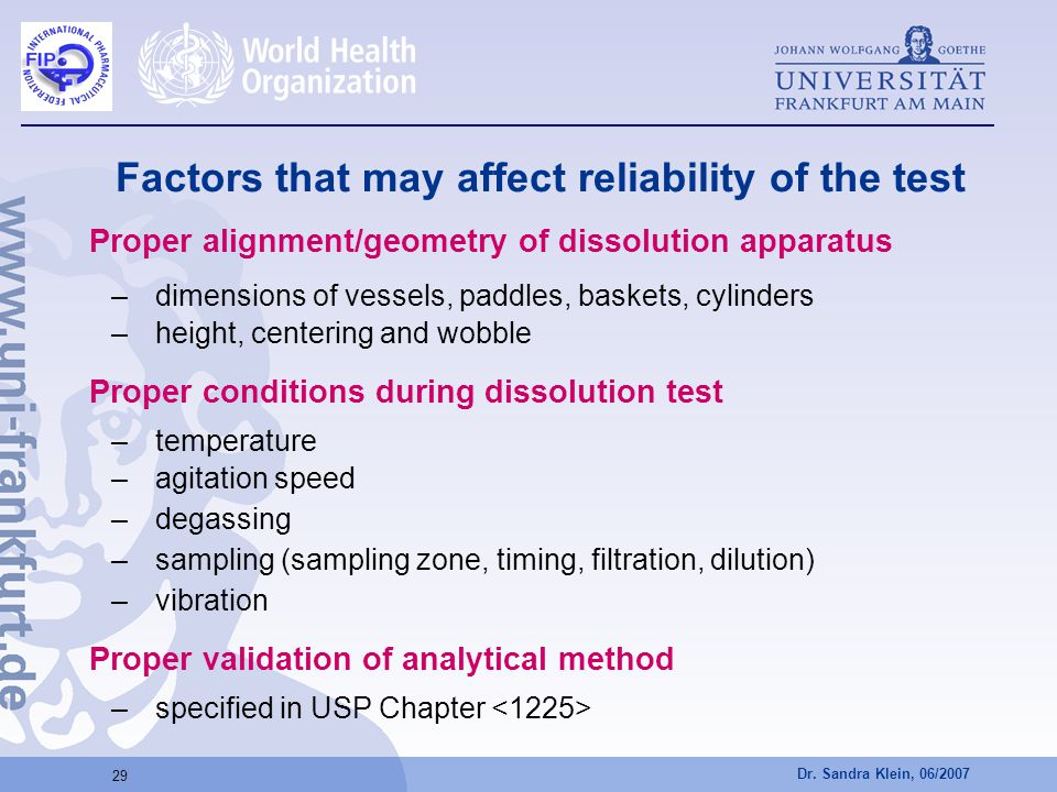 Dr. Sandra Klein, 06/2007 29 Factors that may affect reliability of the test Proper alignment/geometry of dissolution apparatus –dimensions of vessels