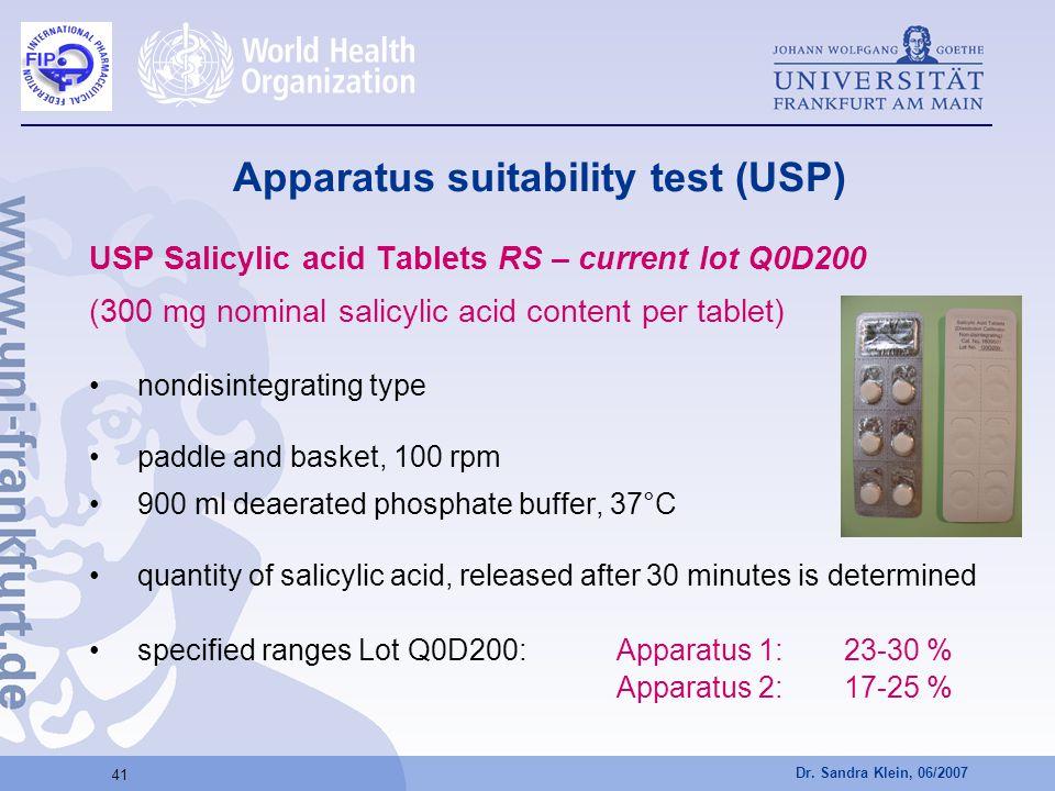 Dr. Sandra Klein, 06/2007 41 Apparatus suitability test (USP) USP Salicylic acid Tablets RS – current lot Q0D200 (300 mg nominal salicylic acid conten